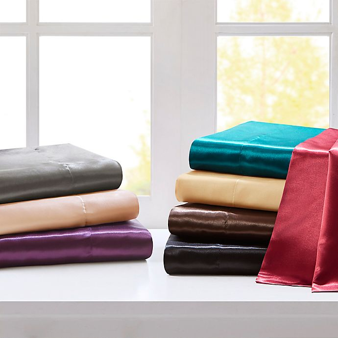 Alternate image 1 for Madison Park Essentials Satin Solid Sheet Set