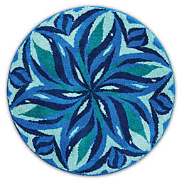 Grund Enjoyment Designer Mandala Round Bath and Accent Rug in Blue