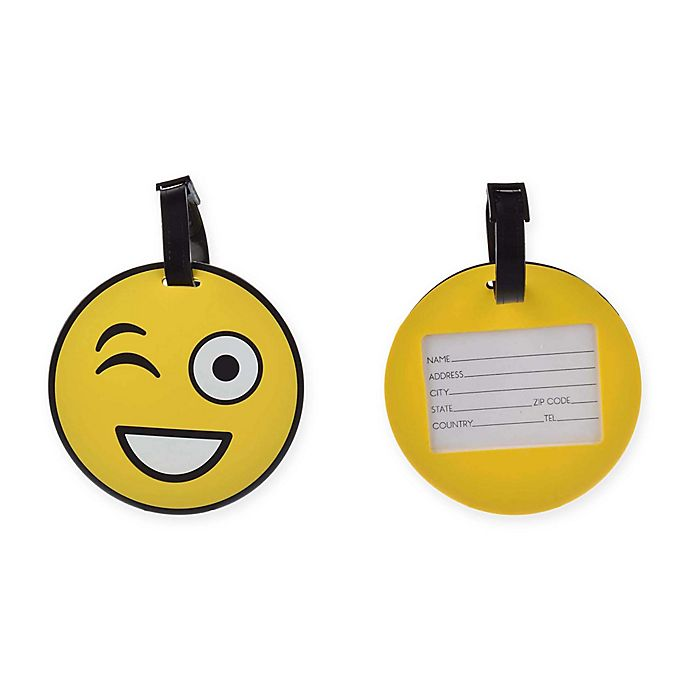 Alternate image 1 for Formations Wink Emoji Luggage Tag in Yellow