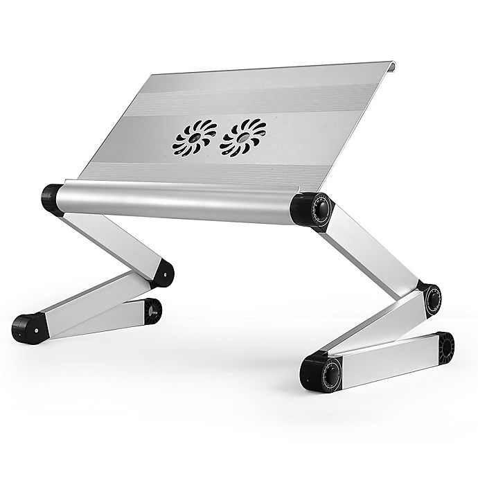 Alternate image 1 for Uncaged Ergonomics Workez Executive Adjustable Laptop/Tablet Stand with Fans and USB In Silver