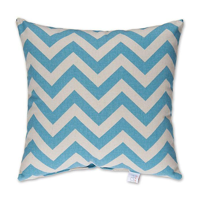 Alternate image 1 for Glenna Jean Lil Sailboat Chevron Square Throw Pillow in Blue/White