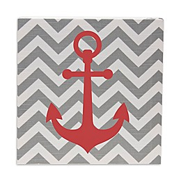 Glenna Jean Lil Sailboat Chevron Anchor Wall Art in Grey/Red