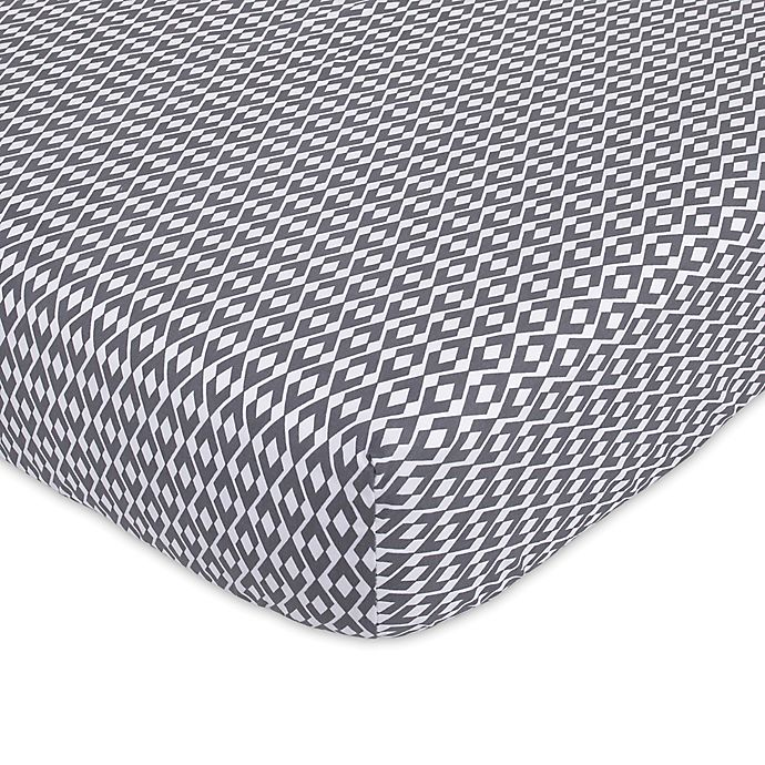 Alternate image 1 for Petunia Pickle Bottom® Southwest Skies Fitted Crib Sheet in Grey/White