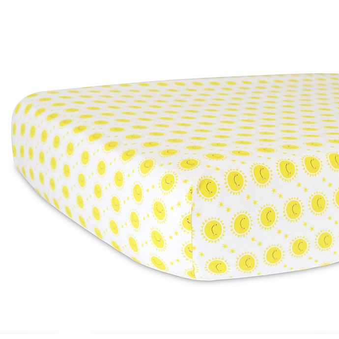 Alternate image 1 for Hello Spud Organic Cotton Jersey Sunshine Fitted Crib Sheet in Yellow