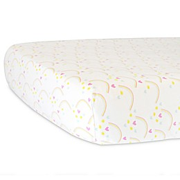 Hello Spud Organic Cotton Jersey Rainbows Fitted Crib Sheet in Yellow