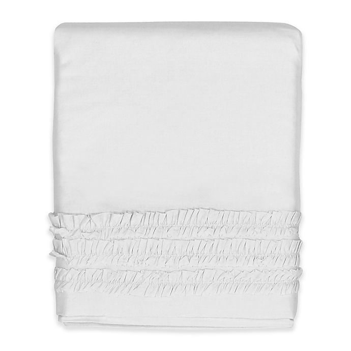 Alternate image 1 for Hello Spud Emma Ruffle Crib Skirt in White
