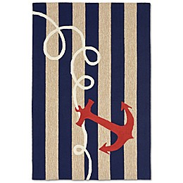 Liorra Manne Front Porch Anchor Indoor/Outdoor Area Rug in Navy