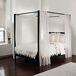 Scarf Sheet Bed Canopy Curtain in White
