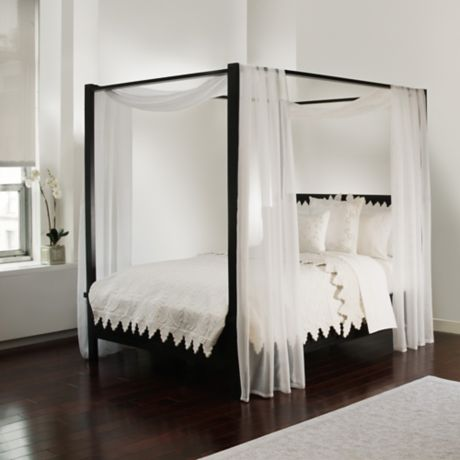 Scarf sheet bed canopy curtain in white bed bath beyond - How to decorate a canopy bed ...