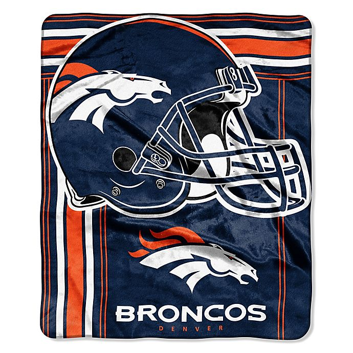 NFL Denver Broncos Royal Plush Raschel Throw