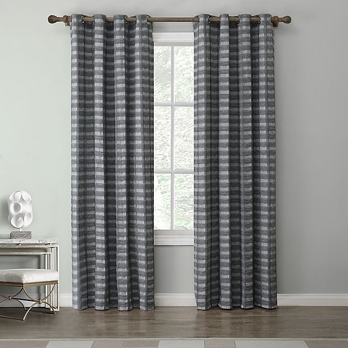 Alternate image 1 for Tyler 95-Inch Grommet Top Window Curtain Panel in Charcoal