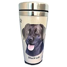 E&S Pets 16 oz. Black Labrador Stainless Steel Travel Mug
