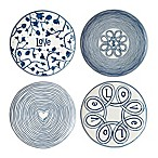 ED Ellen DeGeneres Crafted by Royal Doulton Ed  Blue Love  8-Inch Plates Mixed (Set of 4)
