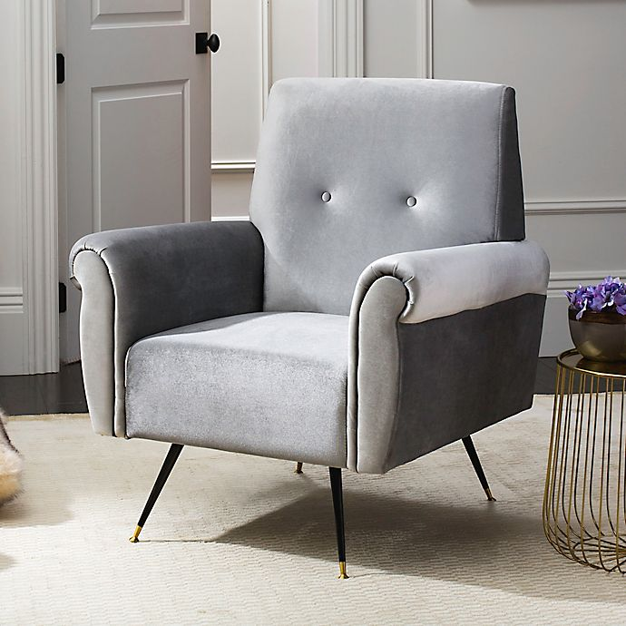Alternate image 1 for Safavieh Mira Faux Leather Chair in Light Grey