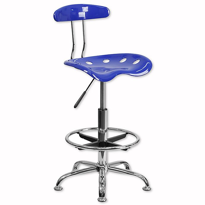 Alternate image 1 for Flash Furniture Drafting Stool with Tractor Seat in Blue
