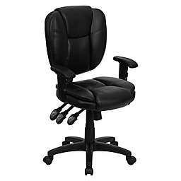 Flash Furniture Mid-Back Leather Task Chair in Black