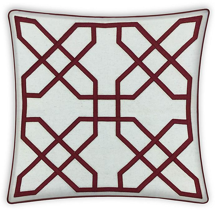 Alternate image 1 for Asher Raised Embroidered 20-Inch Square Throw Pillow in Red