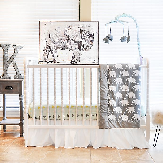 Alternate image 1 for Pam Grace Creations Indie Elephant 6-Piece Crib Bedding Set in Mint