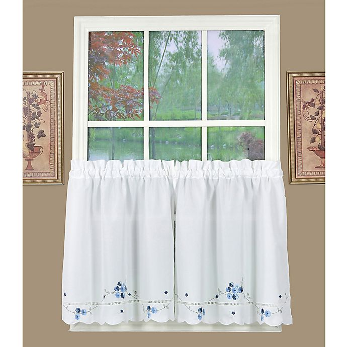 Alternate image 1 for Today's Curtain Christine 24-Inch Kitchen Window Curtain Tier Pair in White/Blue
