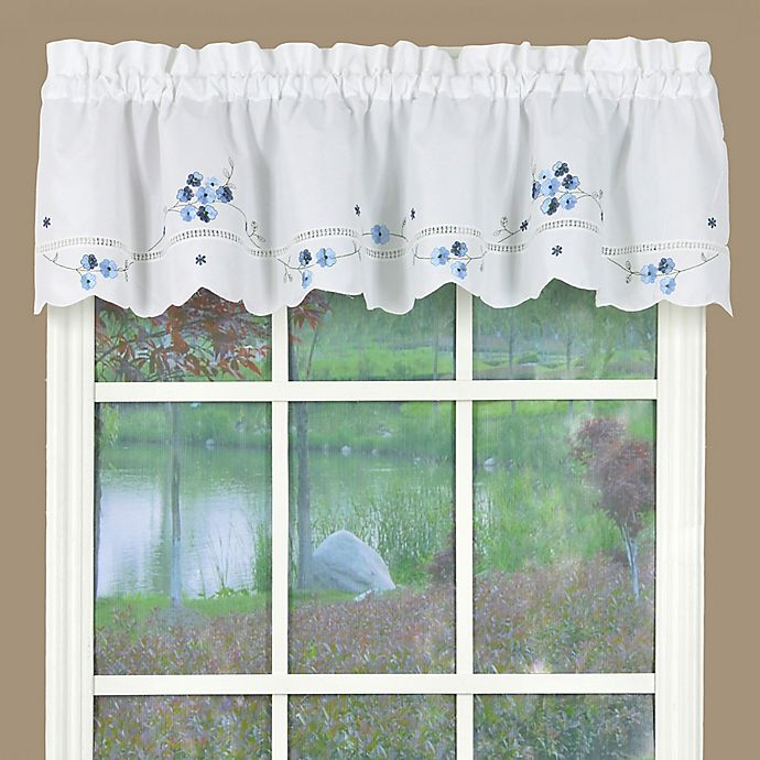 Kitchen Curtains With White Cabinets: Buy Christine Kitchen Window Valance In White/Blue From