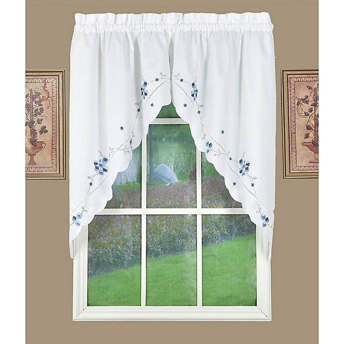 Alternate image 1 for Today's Curtain Christine Kitchen Window Swag Pair in Blue/White