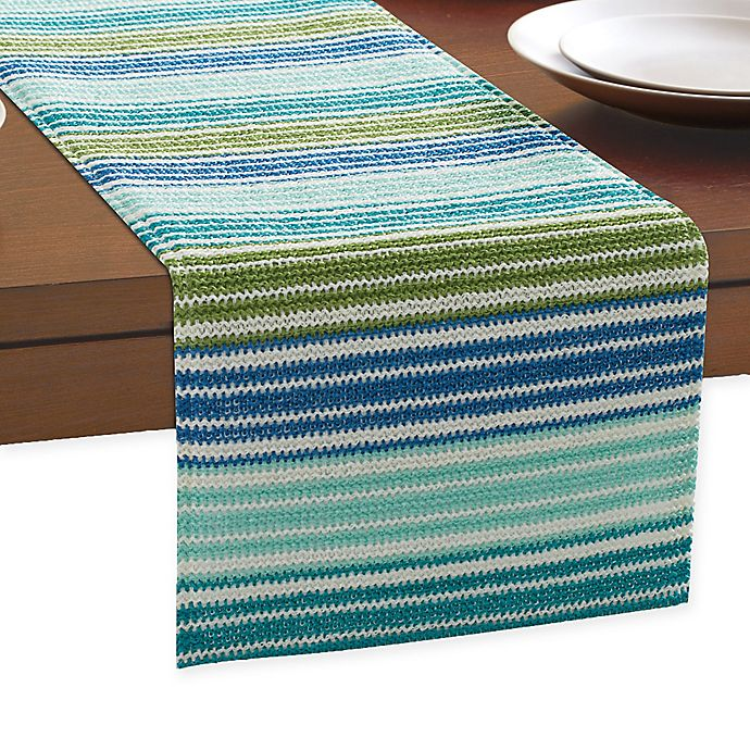 Alternate image 1 for Ombre Stripe Outdoor Indoor Table Runner