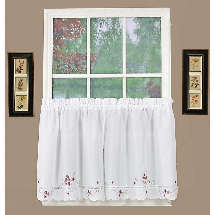 Alternate image 1 for Today's Curtain Christine 24-Inch Kitchen Window Curtain Tier Pair in White/Rose