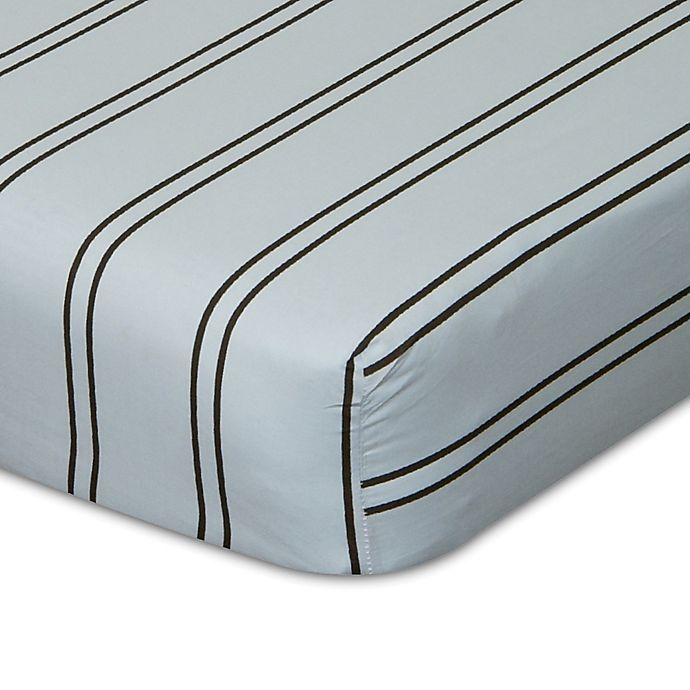 Alternate image 1 for Go Mama Go Designs® Striped Fitted Crib Sheet in Blue/Chocolate