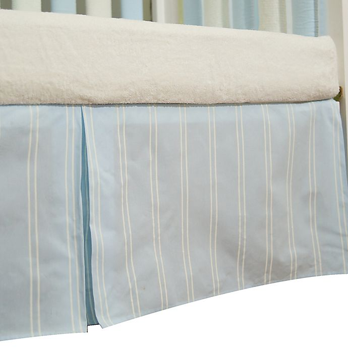 Alternate image 1 for Go Mama Go Designs® Striped Crib Skirt in Blue/Cream