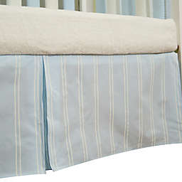 Go Mama Go Designs® Striped Crib Skirt in Blue/Cream