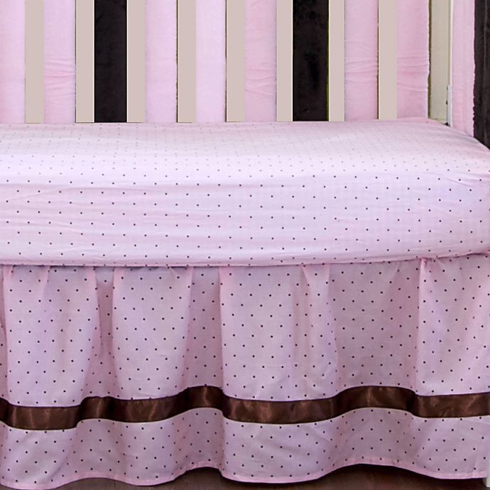 Alternate image 1 for Go Mama Go Designs® Polka Dot Crib Skirt in Pink/Chocolate