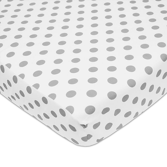 Alternate image 1 for American Baby Company® Polka Dot Cotton Fitted Crib Sheet in Grey/White