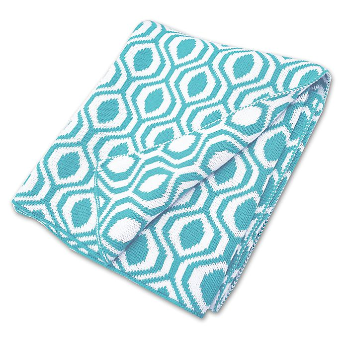 Alternate image 1 for American Baby Company® Ogee Print Cotton Sweater Knit Blanket in Aqua