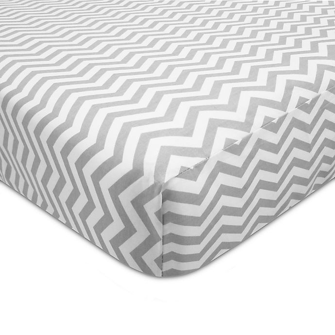 Alternate image 1 for American Baby Company® ZigZag Print Cotton Fitted Crib Sheet in Grey/White