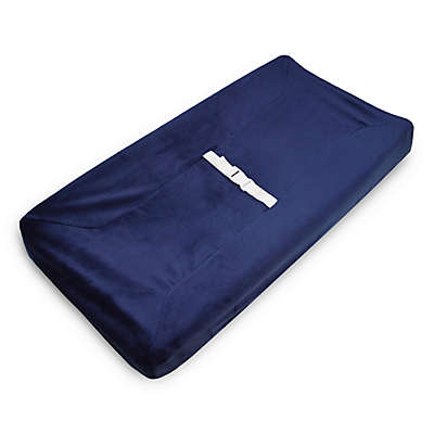 American Baby Company® Heavenly Soft Chenille Contoured Changing Pad Cover in Navy
