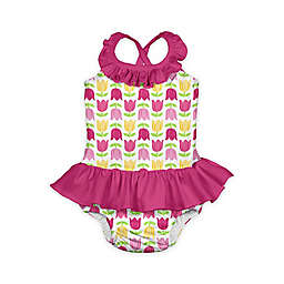 i play.® 1-Piece Tulip Print Ruffle Swimsuit with Built-In Swim Diaper in White