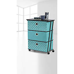 Studio 3B™ 3-Drawer Reversible Storage Cart in Aqua Fret