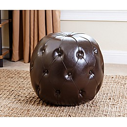 Abbyson Living® Grand Tufted Leather Ottoman