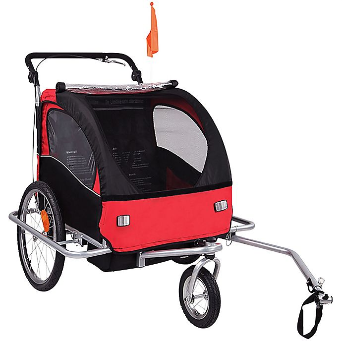 Alternate image 1 for Baby Diego 2-in-1 Double Bike Trailer and Jogger Stroller