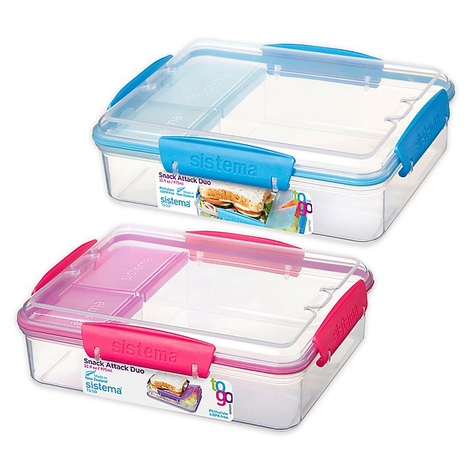 Alternate image 1 for Sistema® Snack Attack Duo-To-Go 32.9 oz. Food Container
