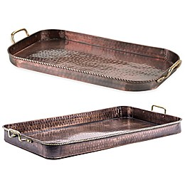 Old Dutch International Oblong Serving Tray with Brass Handles in Antique Copper