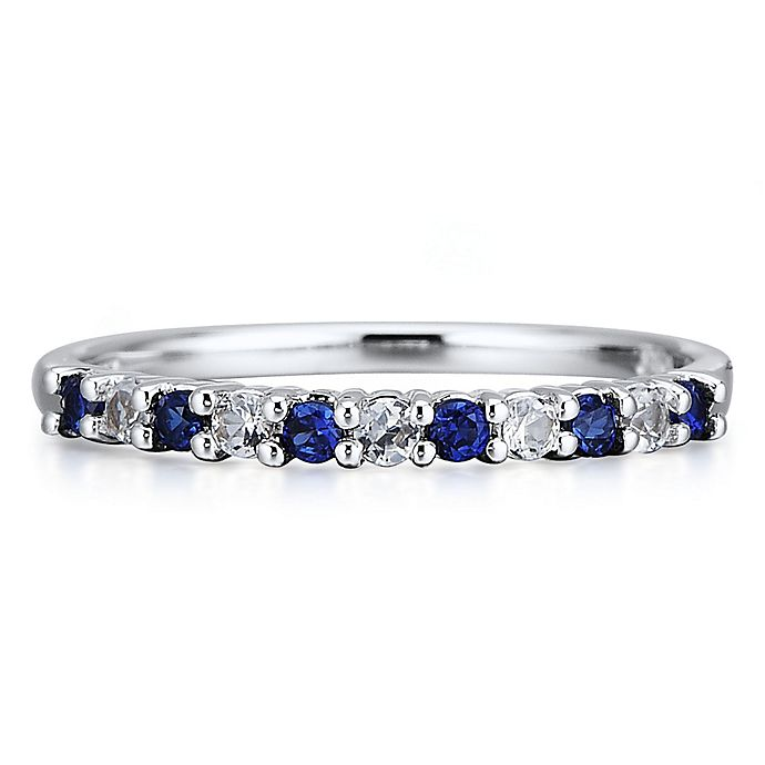 cb1ecd0b7d33e 10K White Gold Created White and Blue Sapphire Ladies' Stackable ...