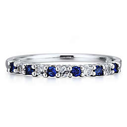 10K White Gold Created White and Blue Sapphire Ladies' Stackable Band