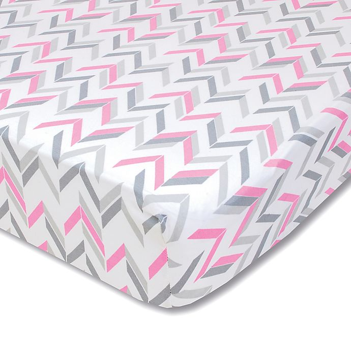 Alternate image 1 for Wendy Bellissimo™ Mix & Match Chevron Fitted Crib Sheet in Grey/Pink
