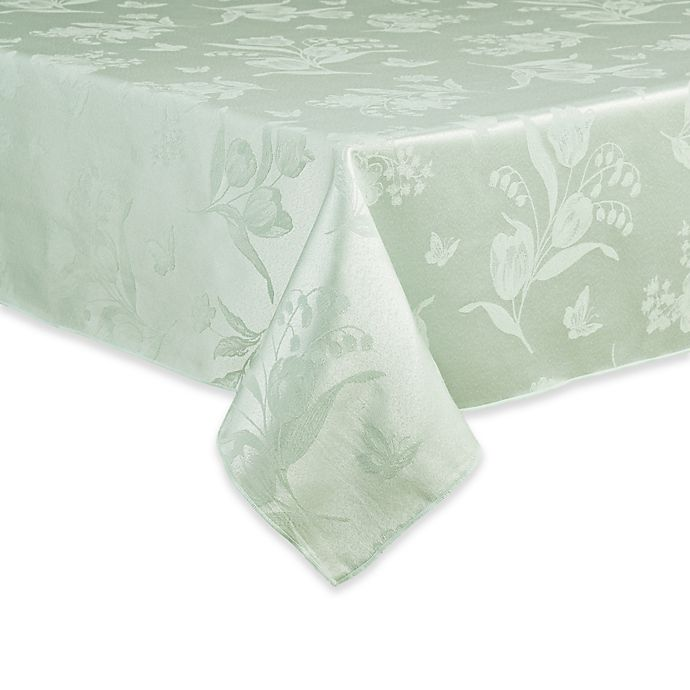Alternate image 1 for Spring Splendor Floral 60-Inch x 104-Inch Oblong Tablecloth in Mint