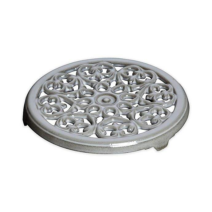 Alternate image 1 for Staub Cast Iron 9-Inch Round Lilly Trivet in Graphite