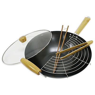 Nonstick 5-Piece 14-Inch Wok Set with Glass Lid