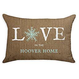 Snowflake Poplin Oblong Throw Pillow in Burlap
