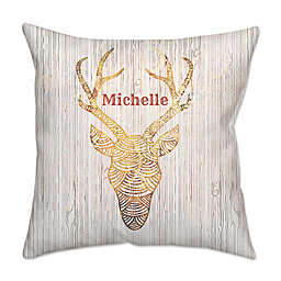 Reindeer WhiteFire Poplin Square Throw Pillow in Gold