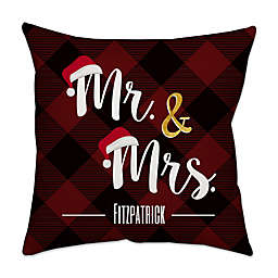 Santa Hats Plaid Poplin Square Throw Pillow in Red
